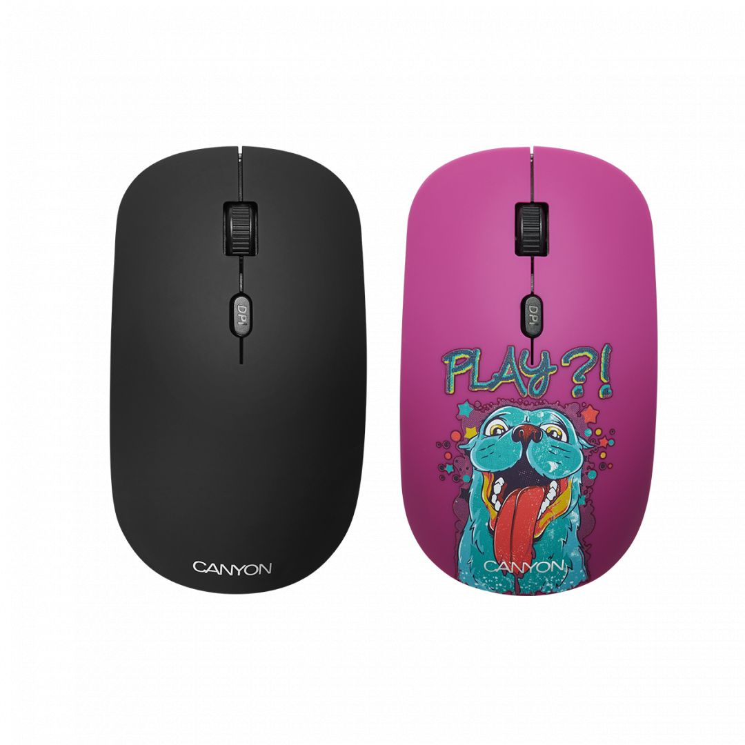 Egér Canyon CND-CMSW400PL Wireless Mouse With Removable Cover Playing Dog