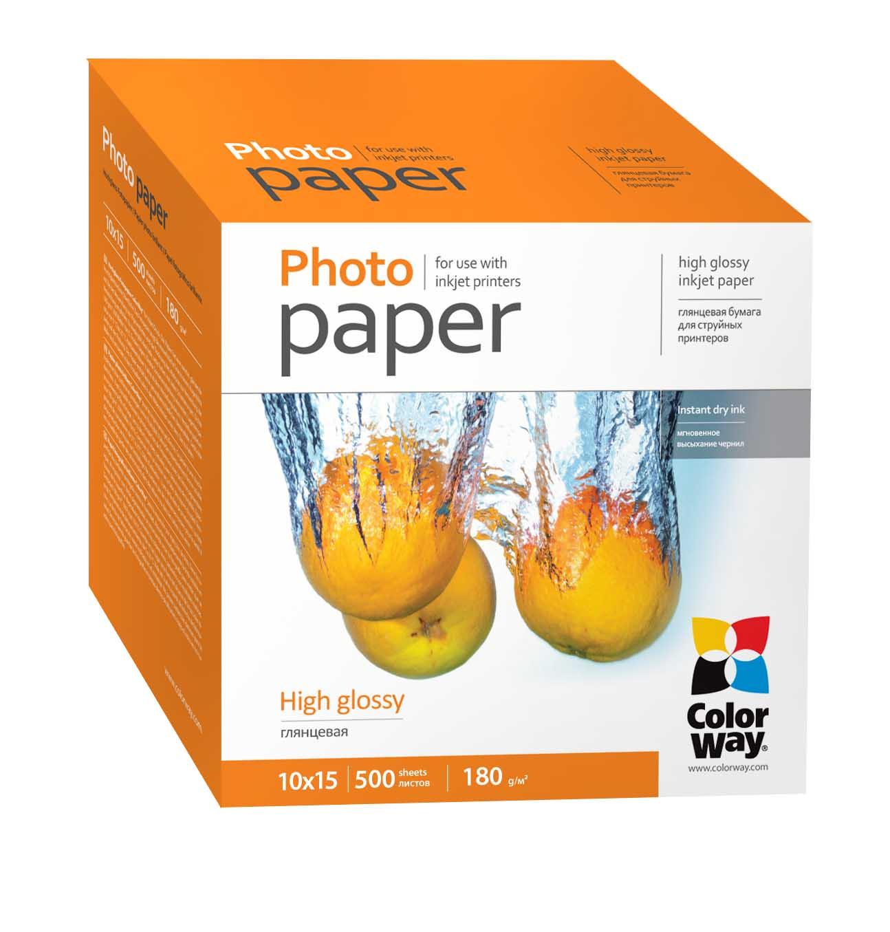 Fotópapír ColorWay Fotópapír fényes 180g, 10x15, 500 lap