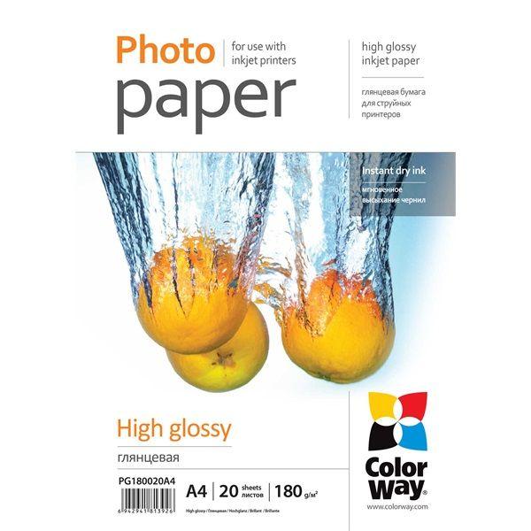 Fotópapír ColorWay Fotópapír fényes 180g, A4, 20 lap