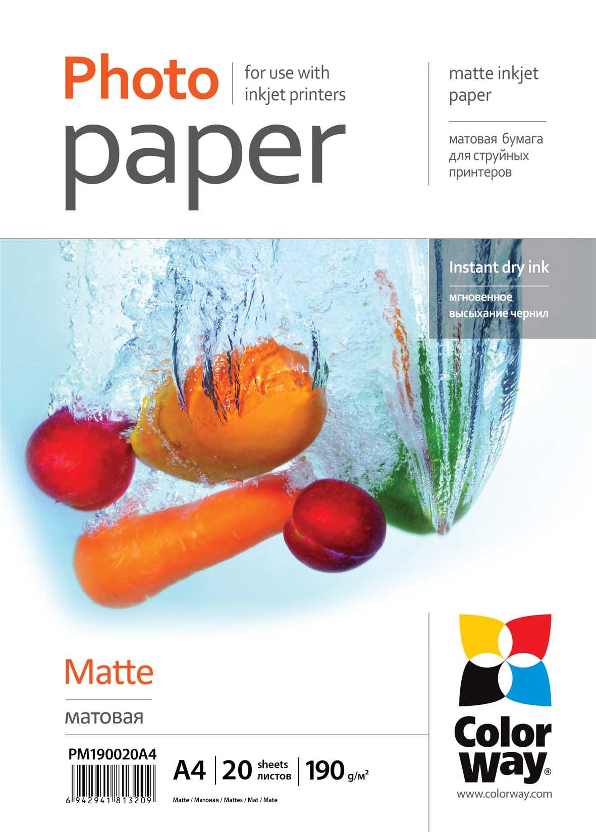 Fotópapír ColorWay Fotópapír matt 190g, A4, 20 lap