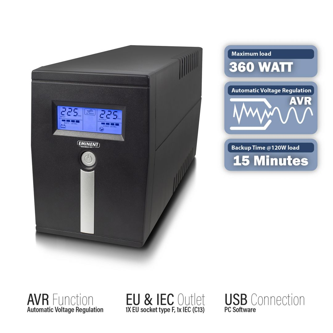 Szünetmentes Tápegység Eminent EM3940 Line Interactive UPS 600VA Schuko