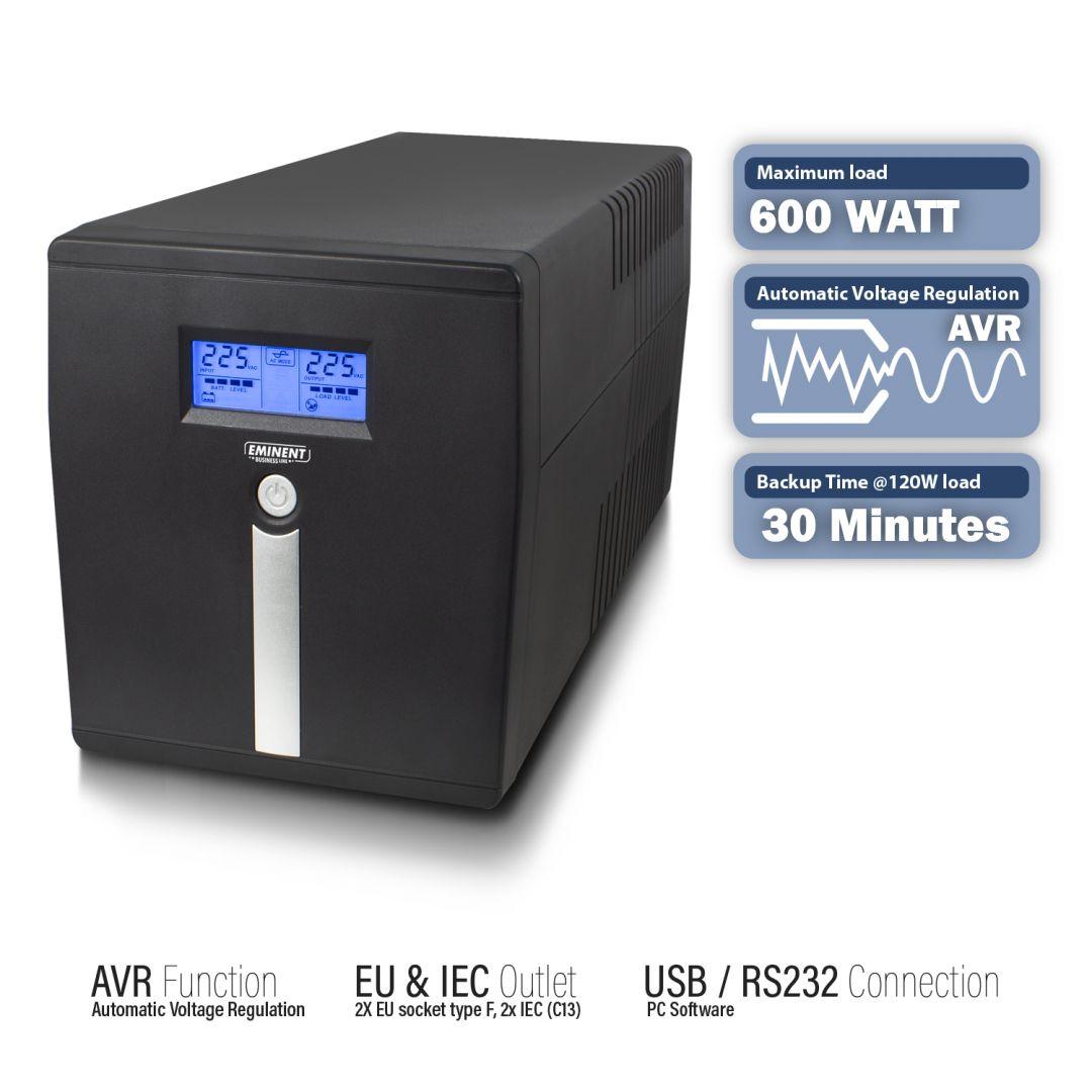 Szünetmentes Tápegység Eminent UPS 1000VA Line Interactive LCD