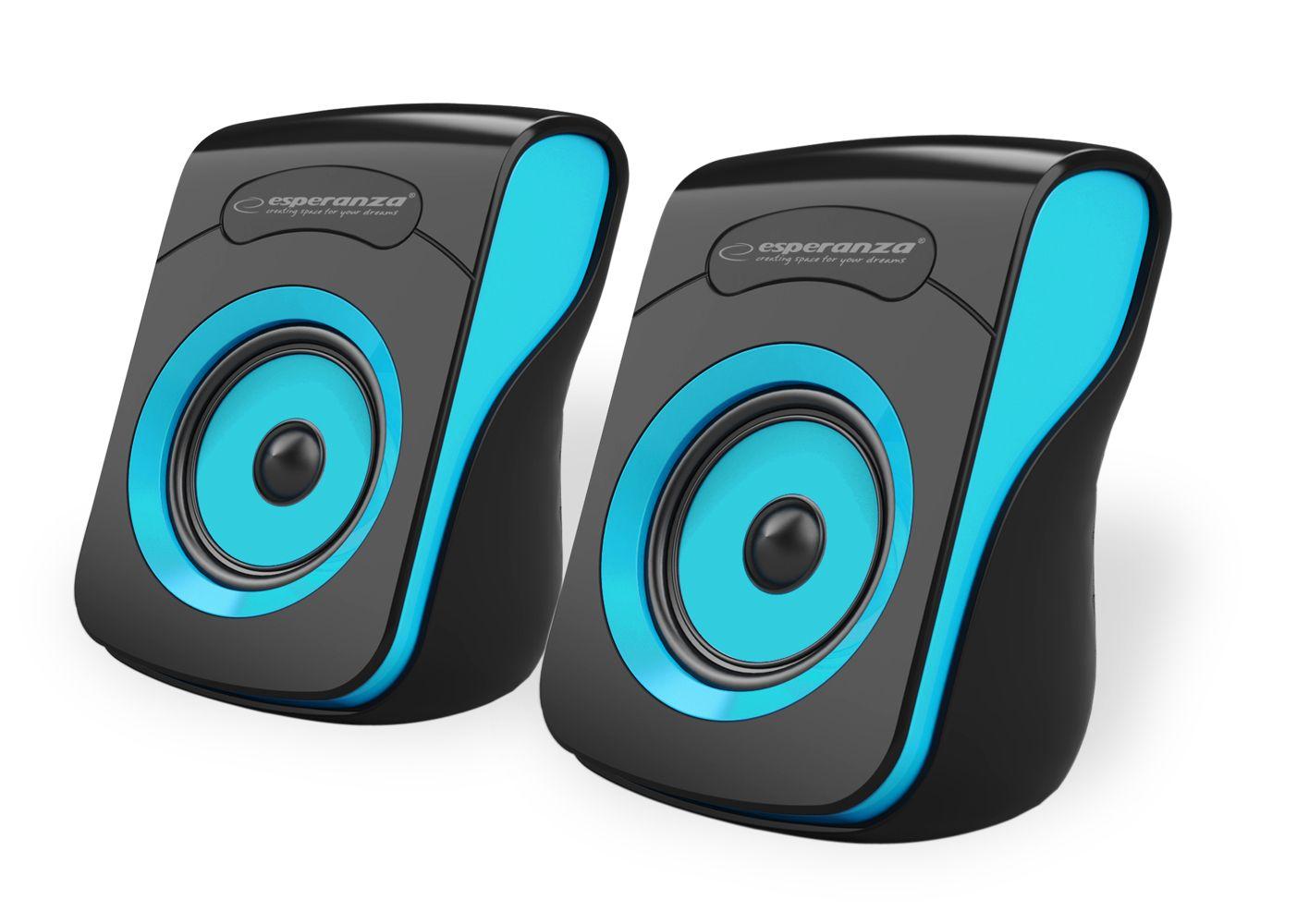 Hangszóró Esperanza Flamenco USB Stereo Speakers Black/Blue