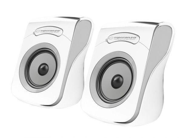 Hangszóró Esperanza Flamenco USB Stereo Speakers White/Grey