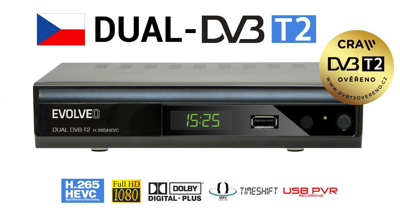 TV Tuner Evolveo Gamma T2 Set-top box Dual HD DVB-T2 H.265/HEVC Recorder