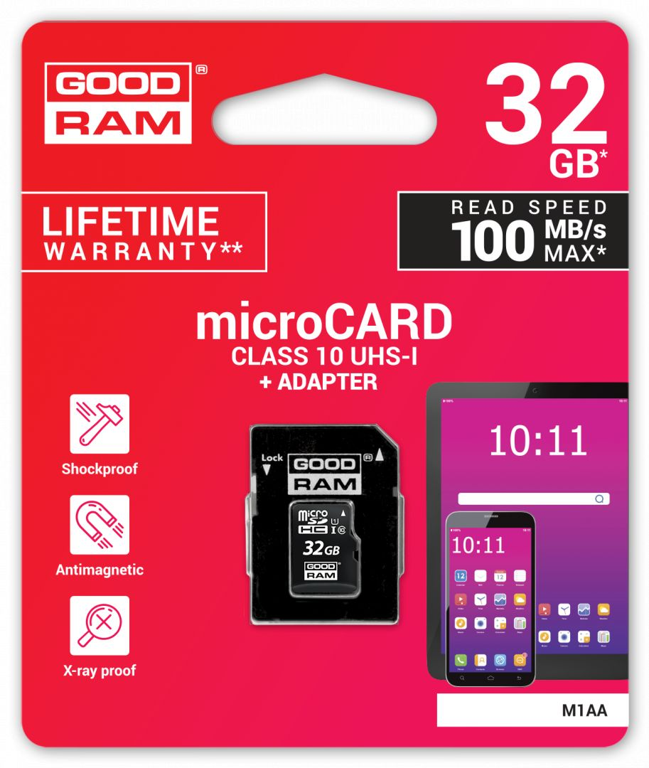 Memóriakártya Good Ram 32GB microSDHC Class 10 UHS-I + adapterrel