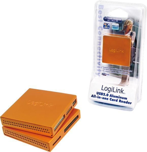 Kártyaolvasó Logilink CR0022 USB2.0 Alu CardReader Orange