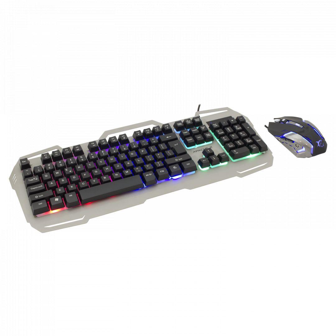 Billentyűzet White Shark GMK-1901 Apache-2 Keyboard and mouse combo Silver US